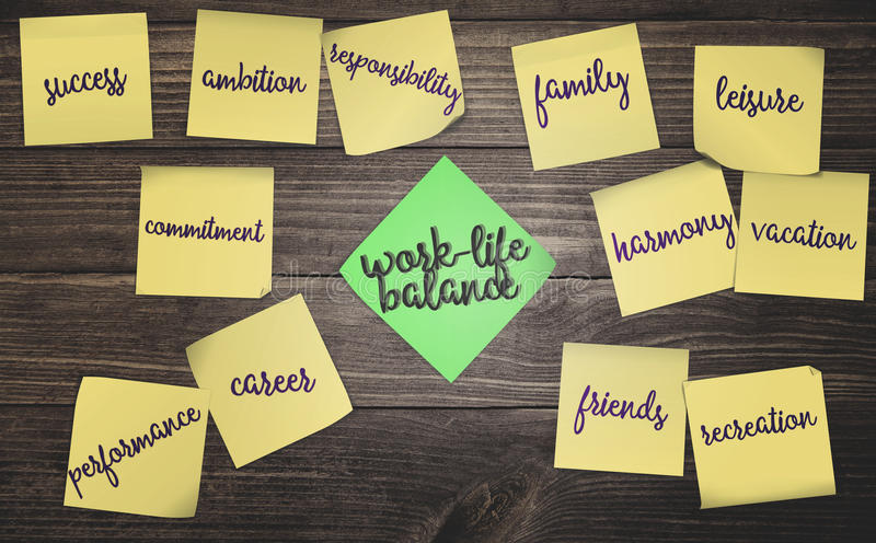 Work life balance. Sticky notes on rustic wood background with concept work-life balance stock illustration
