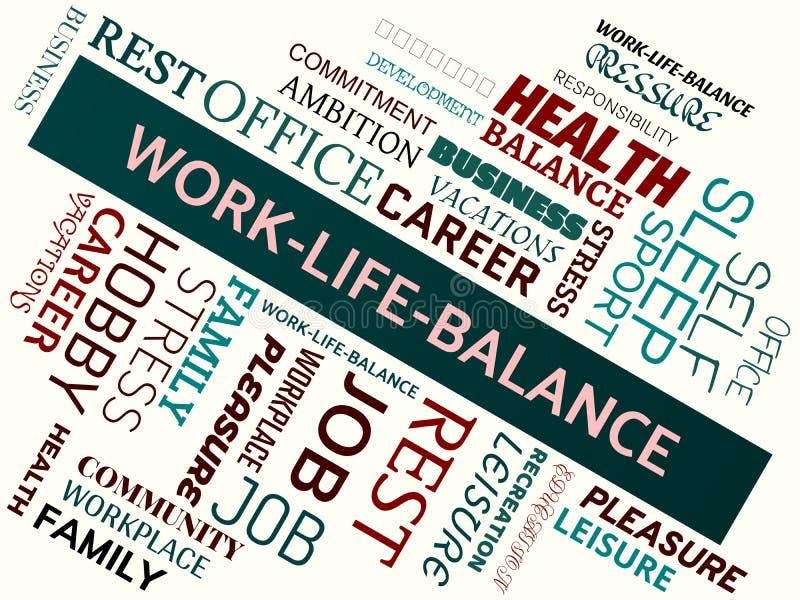 WORK-LIFE-BALANCE - wizerunek z słowami kojarzącymi z temat równowagą, słowo chmura, sześcian, list, wizerunek, ilustracja royalty ilustracja