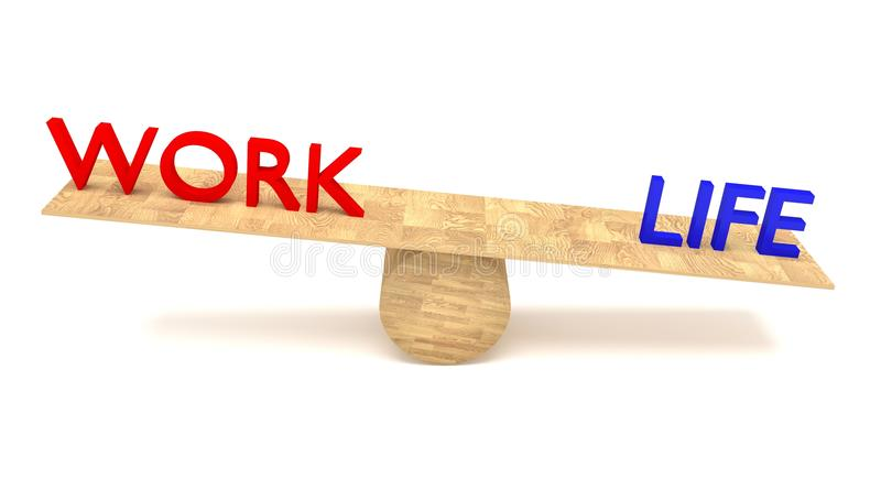 Work-life balance: words on a wooden seesaw stock illustration