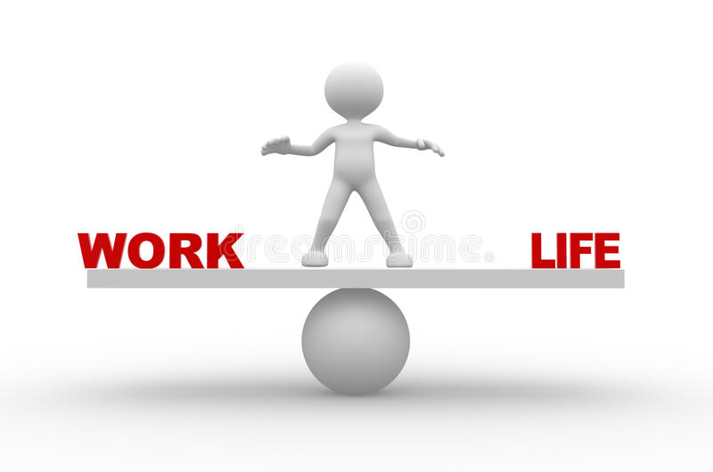 Work and life. 3d people - man, person with word work and life stock illustration