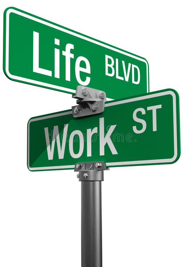 Work or Life decision street signs stock illustration