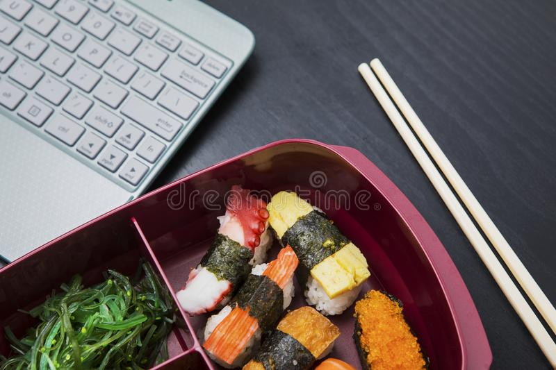 Work lunch box on the table royalty free stock images