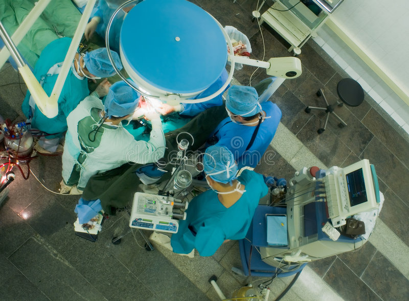 Work in operation room stock image
