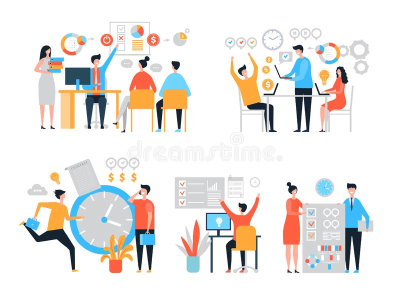 Work organization. Task management people productivity organize process efficiency vector stylized characters stock illustration