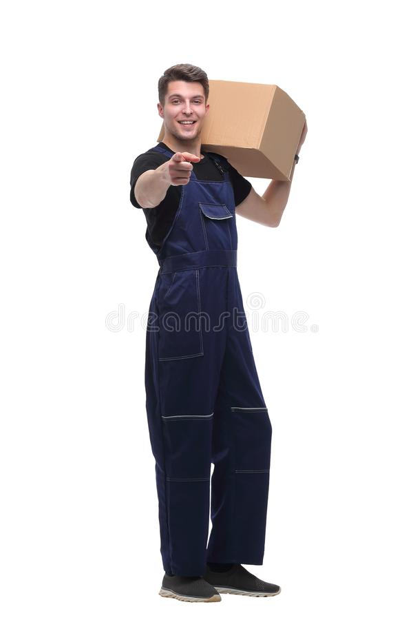 Work in overalls showing thumb up. isolated on white royalty free stock image