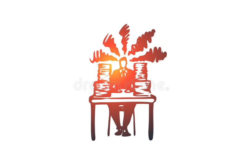 Work, paper, busy, stress, job concept. Hand drawn isolated vector. Work, paper, busy, stress, job concept. Hand drawn overtime work concept sketch. Isolated royalty free illustration
