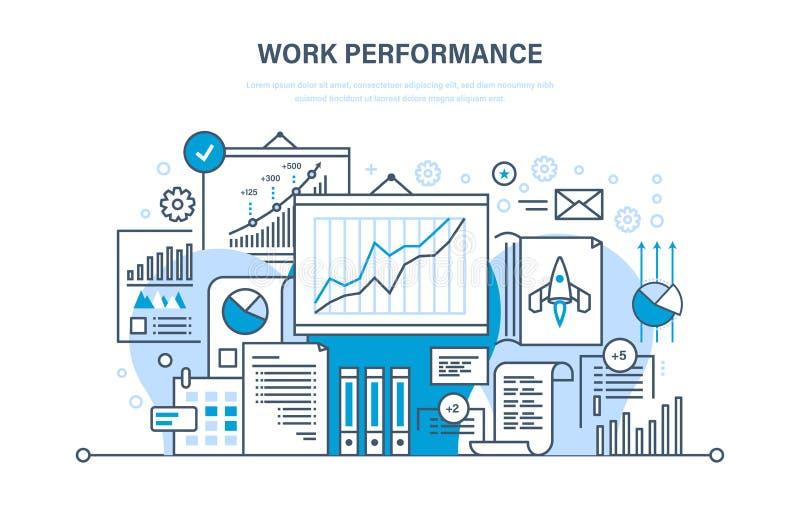 Work performance, quality control, productive, teamwork, performance evaluation, analysis, planning. Sales assistant. Work performance, quality control royalty free illustration