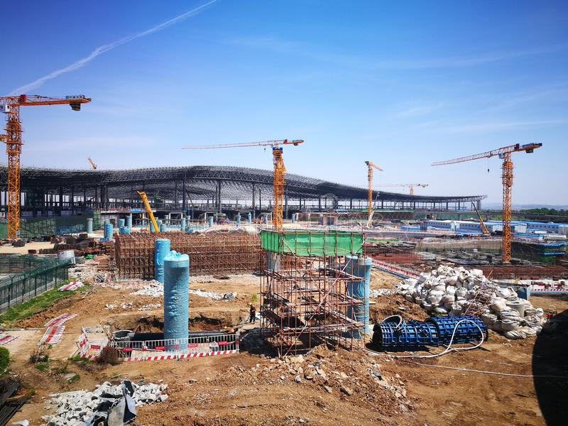 Work place in changchun longjia Airport stock photo