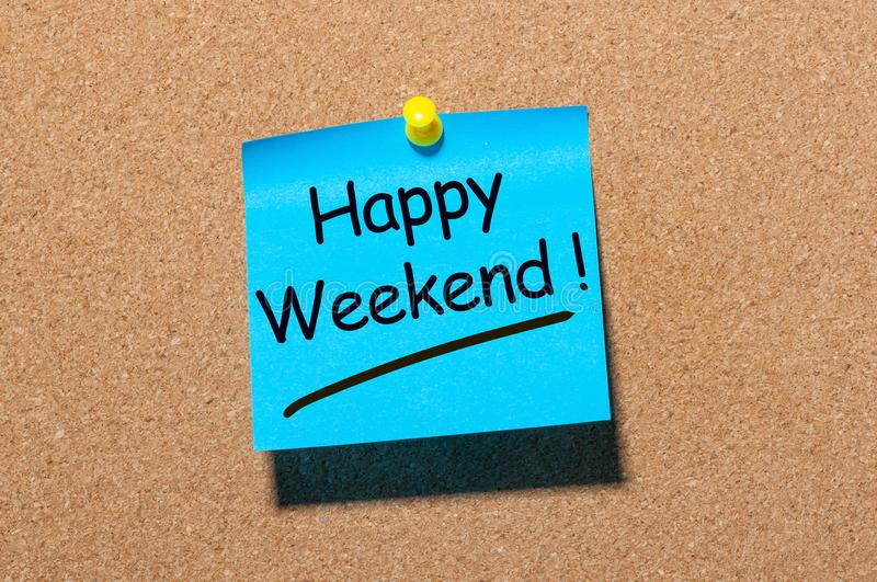 Work place concept - Office Desk pinned Notes About Happy Weekend. Have a nice rest stock photos