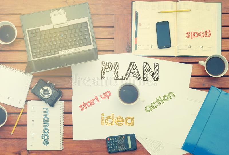 Work place concept - Office Desk with Tools and Notes About Plan royalty free stock image