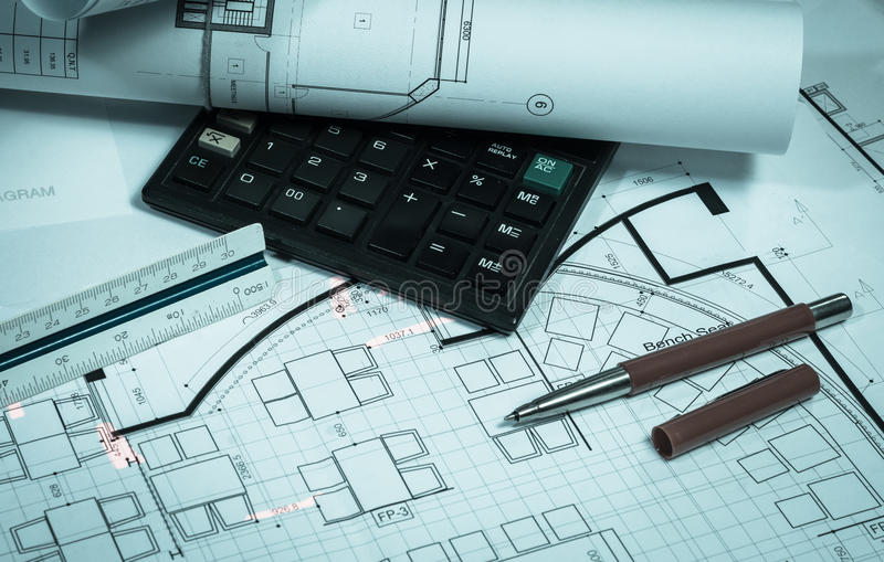 Work plan. Architecture and interior work plan business concepts with retro filter stock image