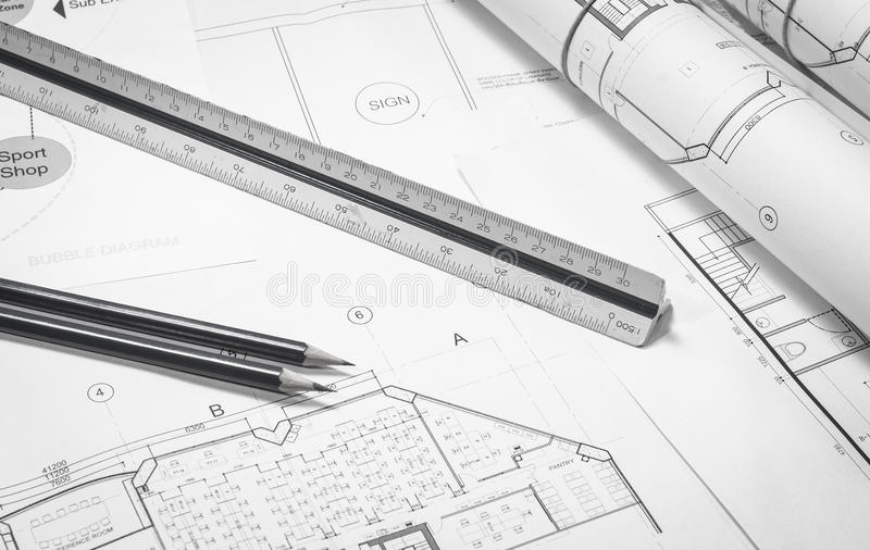 Work plan. Architecture and interior work plan for business plan interior royalty free stock photography