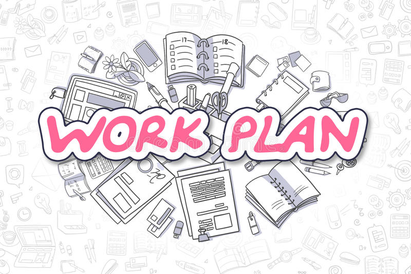 Work Plan - Cartoon Magenta Word. Business Concept. Stock