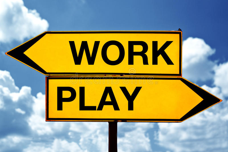 Work or play, opposite signs royalty free stock images