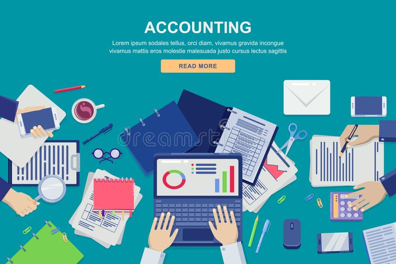 Work process in office, vector top view illustration. Accounting, business data analysis and financial audit concept. vector illustration