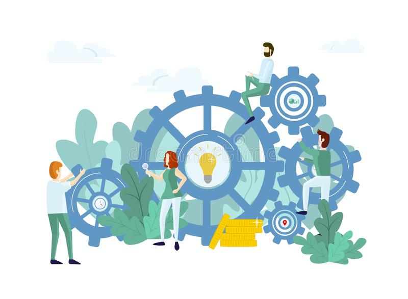 Work process with people and mechanism royalty free illustration