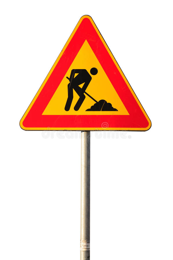 Work in progress road sign. Isolated on white background royalty free stock photo