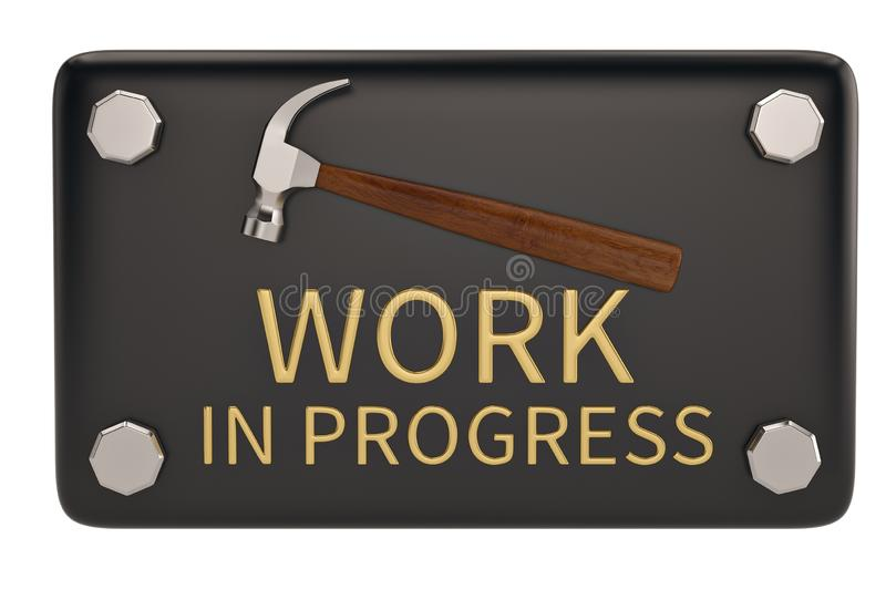 Work in progress sign isolated on white background. 3D illustra. Tion royalty free stock photo