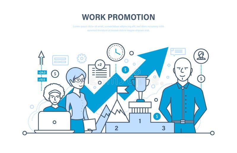 Work promotion, success, business strategy, achievement, leadership, teamwork, business team. Work promotion, success, business strategy, achievement stock illustration