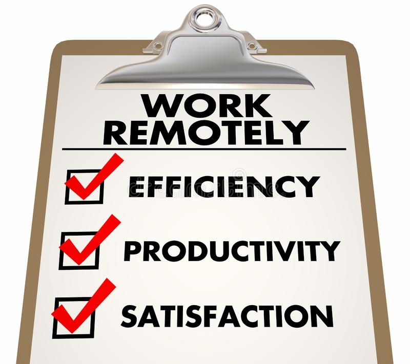 Work Remotely Advantages Checklist stock illustration