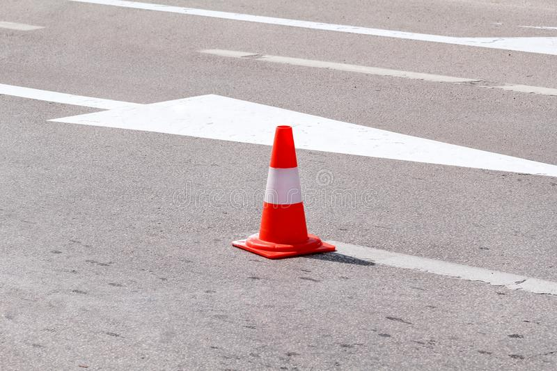 Work on the road, street signs and road marking. Work on the road. Street signs and road marking. Traffic signs for signaling. Road maintenance, under royalty free stock photography