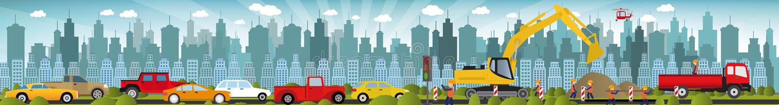 Work on roads (Traffic jam) royalty free illustration