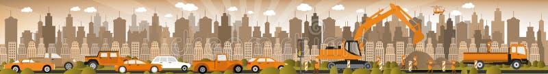 Work on roads (Traffic jam) vector illustration