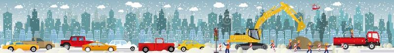 Work on roads (Traffic jam) - Winter royalty free illustration