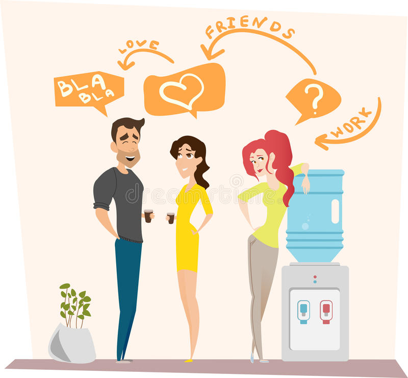 Work romance between two colleagues. Vector illustration. Characters scene. Teamwork in modern business office. royalty free stock images