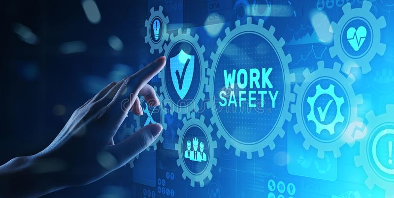 Work safety instruction standards law insurance industrial technology and regulation concept. Work safety instruction standards law insurance industrial stock image