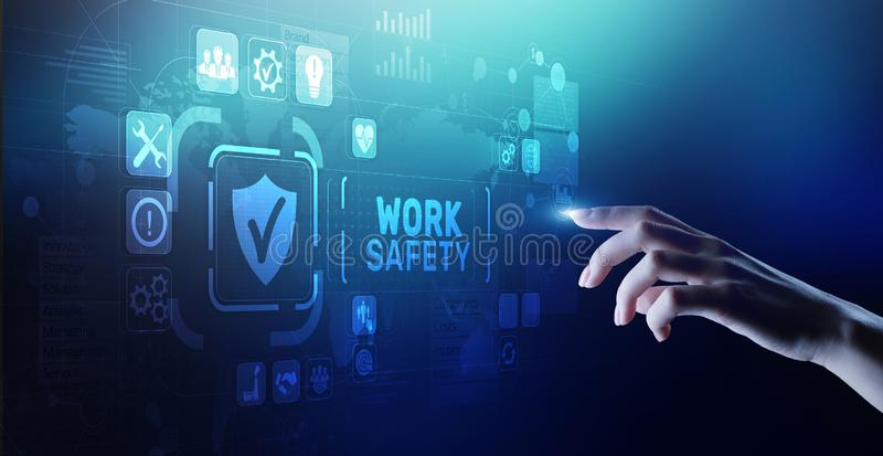 Work safety instruction standards law insurance industrial technology and regulation concept. Work safety instruction standards law insurance industrial stock photography