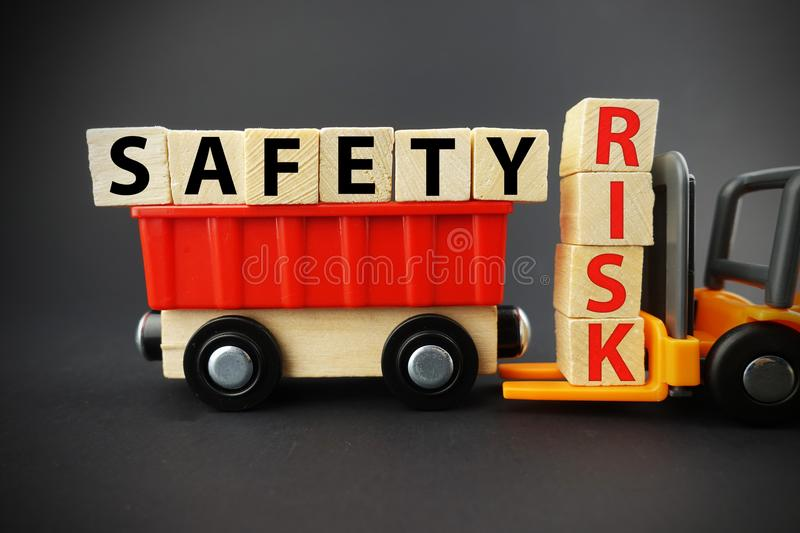 Work safety in order to avoid risks and accidents at the job stock images