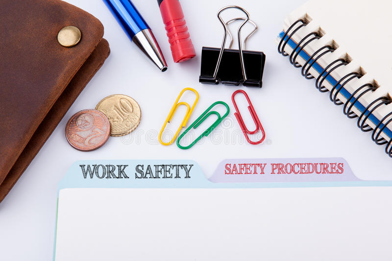 Work Safety and Safety Procedures. Folder Register on a white Office Table royalty free stock images