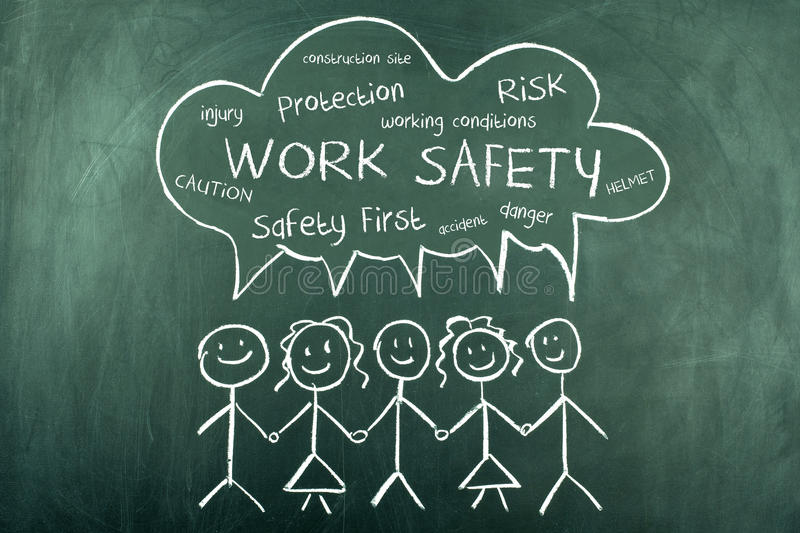 Work Safety Word Cloud Background stock illustration