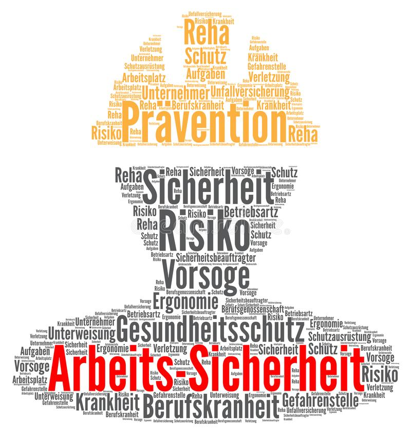 Work safety word cloud concept in German vector illustration