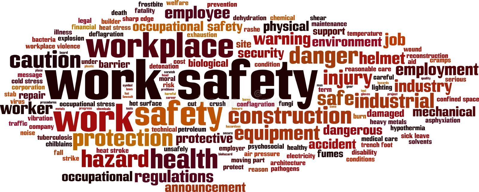 Work safety word cloud vector illustration