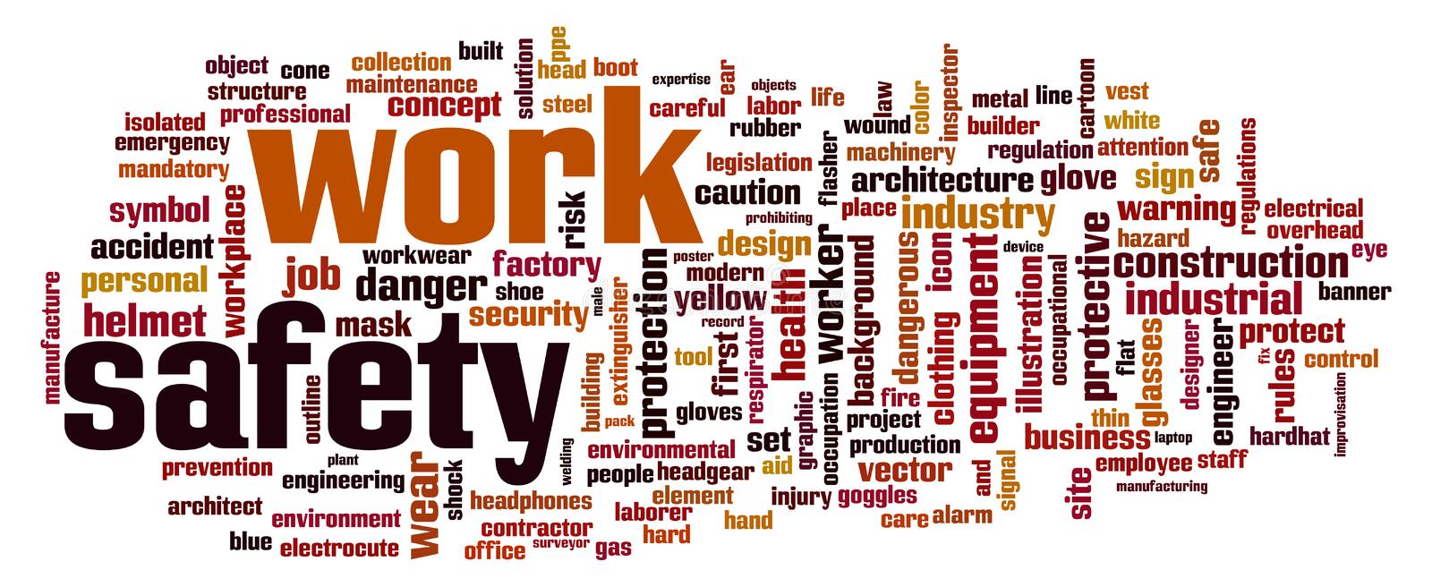 Work safety word cloud royalty free illustration
