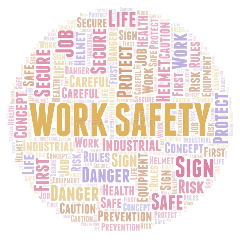 Work Safety word cloud. stock illustration
