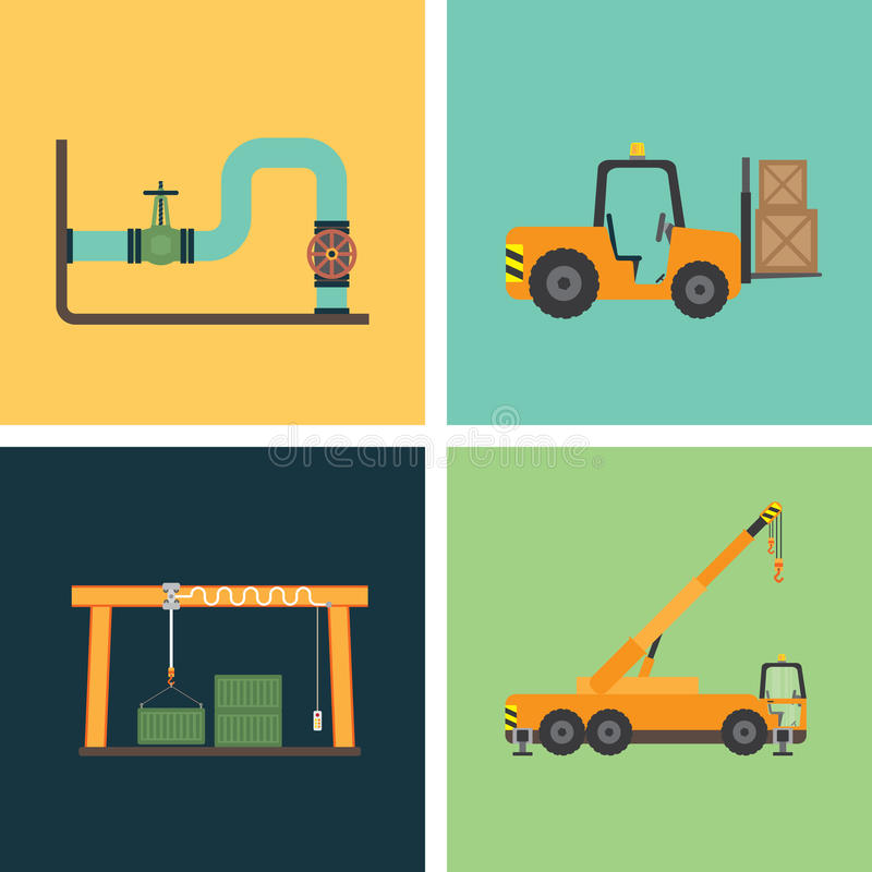 Work on site industry 1. Work on site for industry in simple icon royalty free illustration