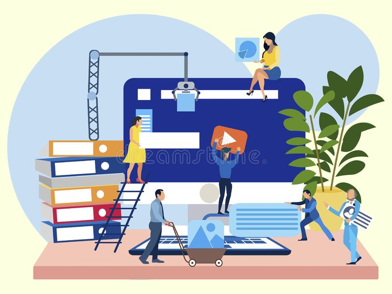 Work on the site, office employees are working on the project. In minimalist style Cartoon flat vector royalty free stock image