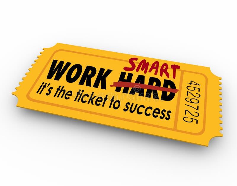 Work Smart Not Hard Ticket to Success Effort Results. Work Smart Not Hard words on ticket to success in career, job or life royalty free illustration