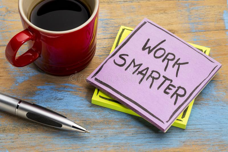 Work smarter reminder note stock photography
