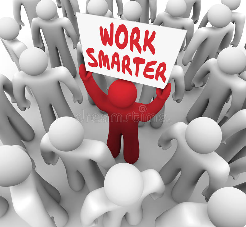 Work Smarter Words Sign Better Productivity Efficiency. Work Smarter words on a sign held up by a worker or employee trying to improve or increase efficiency and royalty free illustration