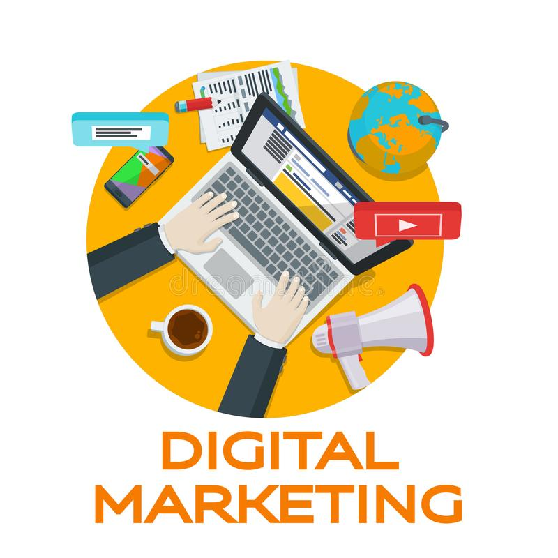 Work in social networks. Web analytics elements. Digital marketing. Search engine optimization. Expert in SEO. Banner for advertis. Ing of the round form. Vector vector illustration