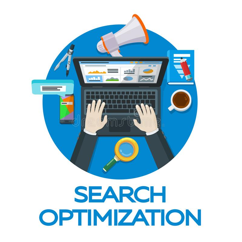 Work in social networks. Web analytics elements and marketing. Search engine optimization. Expert in SEO. Banner for advertising o. F the round form. Vector vector illustration