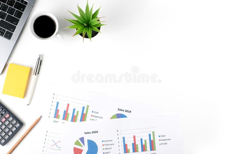 Top view white office desk table with document royalty free stock photos
