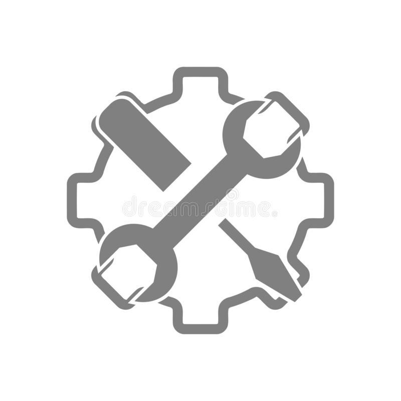 Spanner, repair, hammer, wrench, industry, construction, screwdriver, settings, equipment, service, maintenance, work tool icon. Work spanner repair hammer royalty free illustration