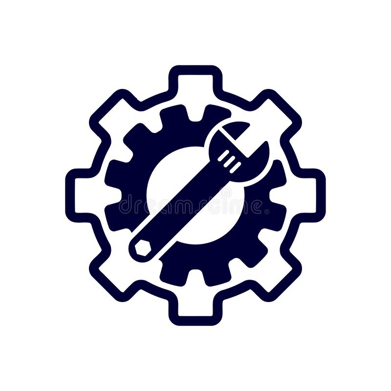 Spanner, repair, wrench, industry, screwdriver, gear, settings, equipment, service, maintenance, work tool blue color icon. Work spanner repair hammer wrench vector illustration