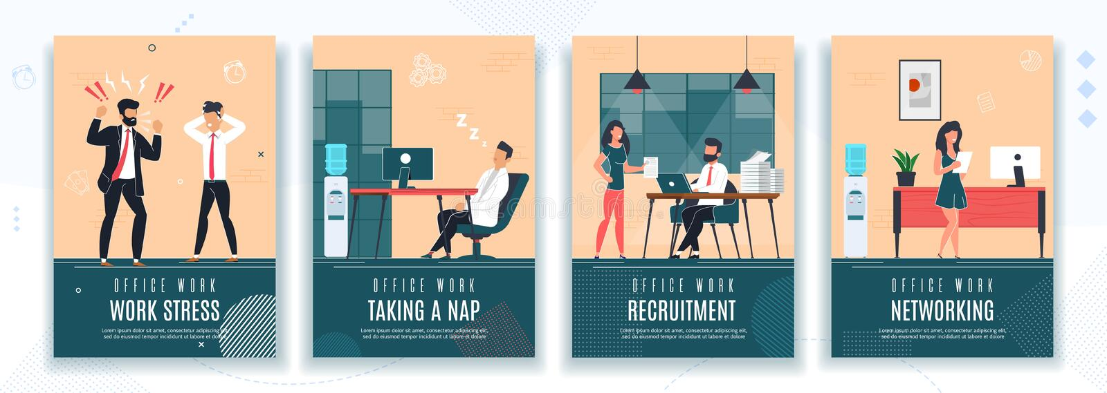 Work Stress, HR, Rest at Work Office Poster Set. Work Stress, Taking Nap, Recruitment, Networking Poster Set. Break Time, HR, Failure Deadline. Woman on Job stock illustration