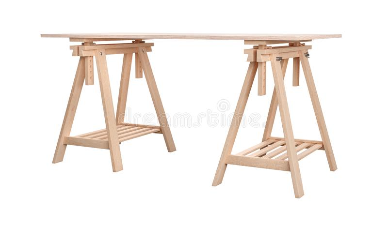Wooden plywood shelf on two trestles, isolated on white background, 3d rendering vector illustration